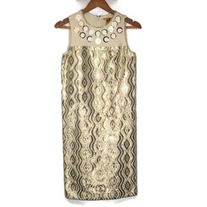 Tory Burch retro 1940s lemay dress Gold beads Sz 2